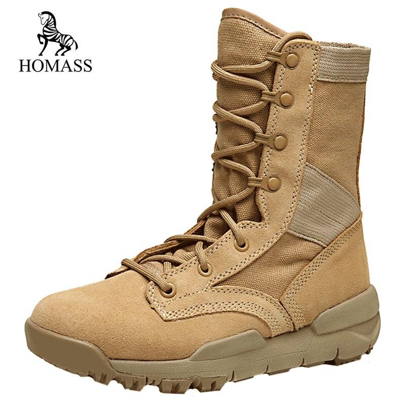 HOMASS troupeau à lacets armée bottines hommes mode haute qualité chaussures unisexe militaire bottes Motorcyble bottes mâle Satety chaussures