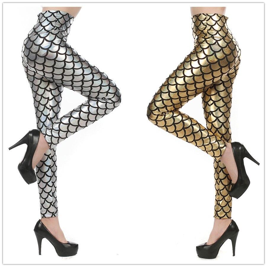 2017 Frauen's Skala Leggings Süßigkeitfarbe Dünne Leder Leggings Größe Meerjungfrau-skalen Sexy Hosen Digitaldruck Bunte Leggings