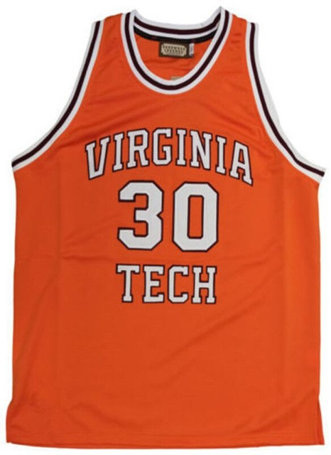 ФОТО #30 Dell Curry Virginia Tech University Hokies College Basketball Jerseys Orange Throwback Embroidery Custom any Number and name