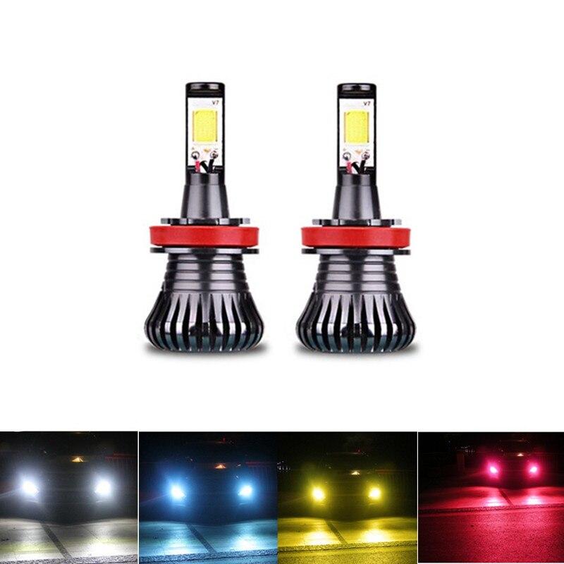 Автомобиль светодиодные лампы Противотуманные фары двойной Цвет Flash автомобилей <font><b>H3</b></font> H8 H11 9005 HB3 HB4 9005 9006 H27 880 881 6000 К белого и синего цвета желтый &#8230;