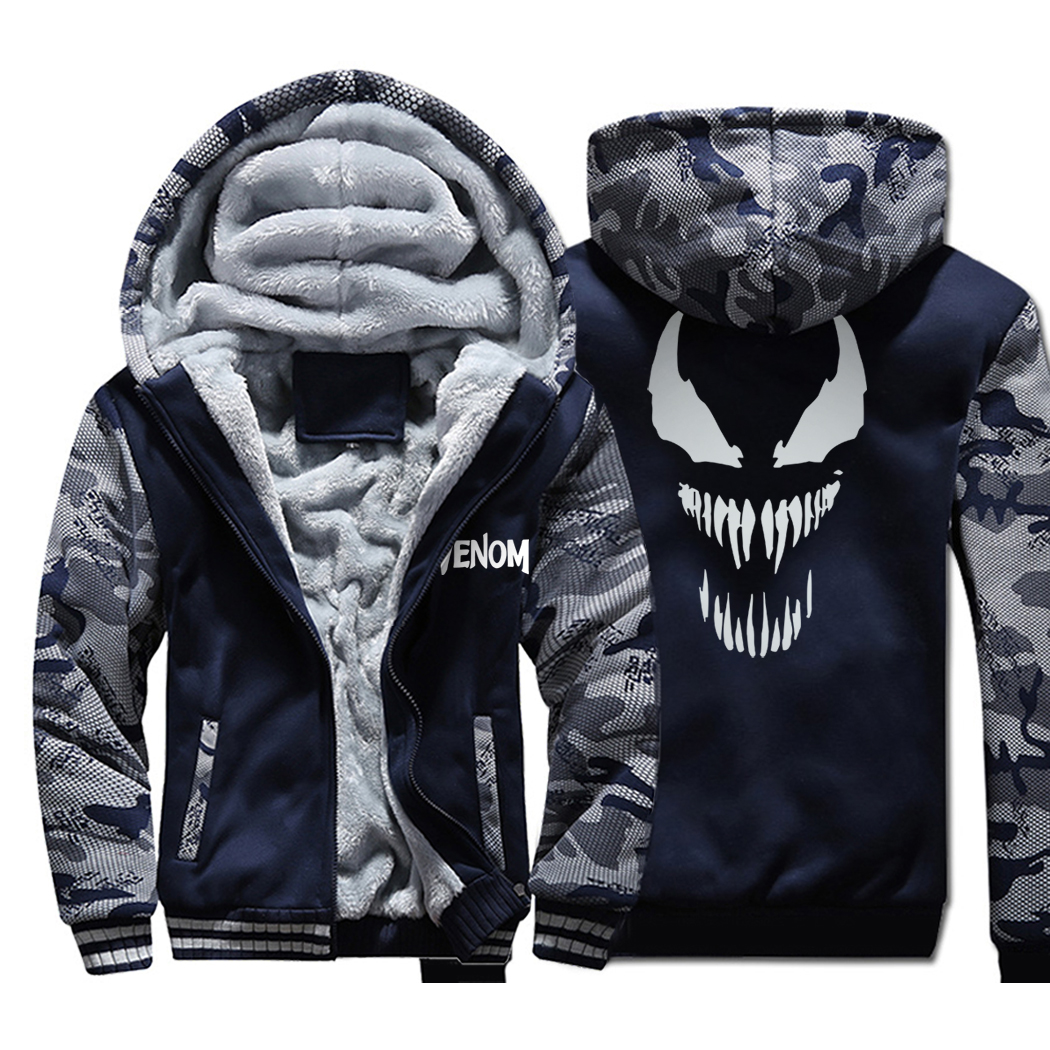 Superman Venom Hoodies Men 2019 Hot Winter Thick Camouflage Jackets Harajuku Warm Sweatshirts Men's Military Coat Brand Clothing