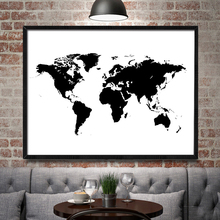 Nordic Decoration World Map in Black and White Wall Art Canvas Poster and Print Animal Canvas Painting Picture for Living Room