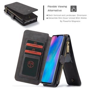 Image 3 - Çok fonksiyonlu cüzdan telefon kılıfı için Huawei P30 Lite P30 Pro fermuar çevirme deri manyetik kapak için Huawei Mate 20 Pro kılıf