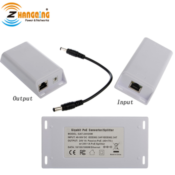 24V 25W convertidor de PoE 48V a 24V Gigabit activo DC convertidor de PoE para 24V PoE dispositivos tales como 24V MikroTik Routerboard