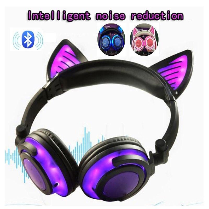 5573c0f9652 Auriculares inalámbricos con orejas de gato 2019, Auriculares Bluetooth,  auriculares brillantes y parpadeantes con luz LED para ordenador portátil  chico ...