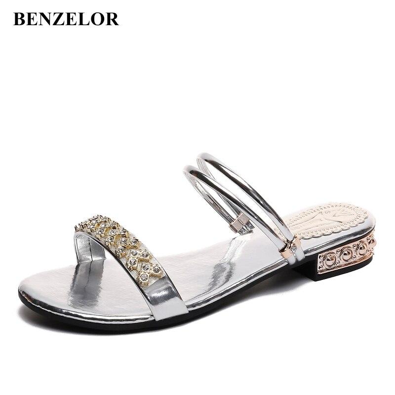 a8c025b3942938 Dames Chaussures Benzelor Strass Sandales Sandalias Femmes Noir D'été  Talons Luxe Casual Bas Femme De ...