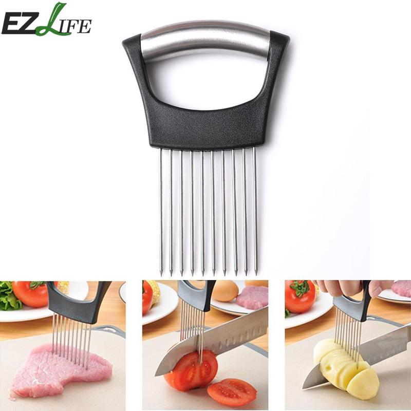 1pcs Onion Slicer Cut Onion Holder Fork Tomato Vegetable Slicer Cutting Aid Guide Holder Fruit Cutter Onion Cutter LPT6734