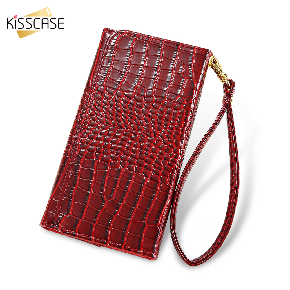KISSCASE 5.5'' Universal Crocodile Leather Wallet Phone Case For iPhone 6 6S 7 Plus 5S SE Strap Handbag Cover For Galaxy S7 S6