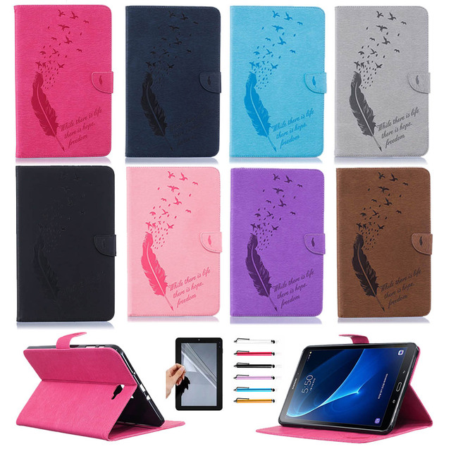 Leather Tablet Case For Samsung Galaxy Tab A 10 1 T580 SM T580 T585 Flip  Stand Smart Cover For Samsung Tab A 10 1 Case+Pen+Film-in Tablets & e-Books