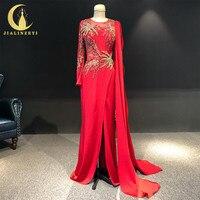 JIALINZEYI реальное изображение одежда с длинным рукавом Красного атласа с золотым бисером Формальные вечерние платье вечерние платья