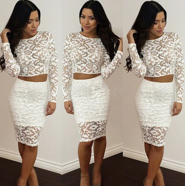 28c5180e8aea High Quality 2-piece dress 2017 sexy lace bandage dress women s Knee-Length  party bodycon Dresses Long sleeve dress