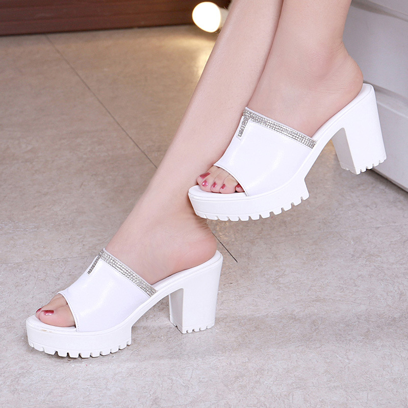 <font><b>Sexy</b></font> Open Head Block <font><b>Heels</b></font> Platform <font><b>Shoes</b></font> <font><b>Women</b></font> Wedding <font><b>Shoes</b></font> Summer 2019 <font><b>High</b></font> <font><b>Heels</b></font> Slides Ladies <font><b>Slippers</b></font> Rhinestone 41 42 43 image