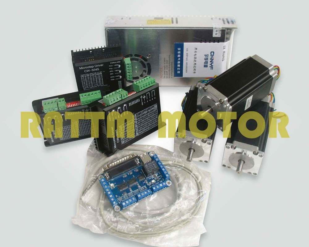 2017 Sale Stepper Motor Controller Power Kit 3 Axis Cnc 3pcs Nema23 425 Oz-in Dual Shaft Stepper Motor&256 Microstep 4.5a Driver de ship free vat 4 axis nema23 425 oz in dual shaft stepper motor cnc controller kit