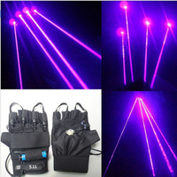 2Pcs Rechargeable Violet Laser Gloves Dancing Stage Show Light With 4 pcs Lasers and LED Palm Light for DJ Club/Party/Bars