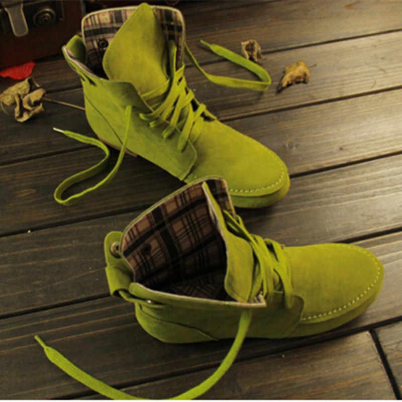 Güzel Bahar Sonbahar Ayakkabı Kadın Çizmeler Yuvarlak Ayak Martin Çizmeler Lace Up Süet Deri Çiftler Akın Nubuk rahat ayakkabılar Kadınlar Için