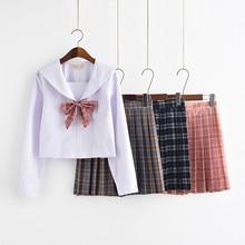 Японская школьная форма JK для девочек; комплект из клетчатой юбки с высокой талией в консервативном стиле; коллекция года; костюм Лолиты для девочек