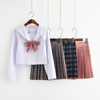 Japanese JK School Uniforms Girls Preppy Plaid High Waist Skirt Sets Preppy Chic Style 2017 Cosplay