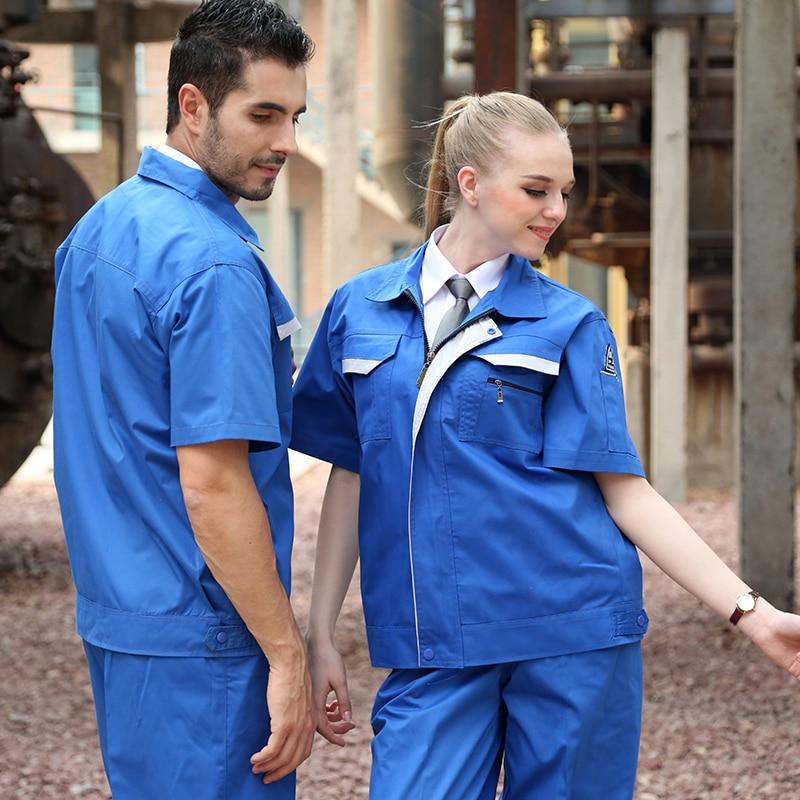 SET OF COAT+PANTS Anti-static work wear gas station coat sinopec coat anti-static work wear set mechanical short-sleeve uniform ...