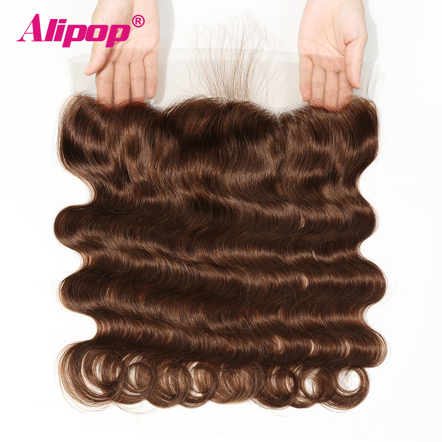 Pre Plucked Brazilian Body Wave Lace Frontal Colored Dark Light Brown Ear to Ear 13X4 Non Remy Human hair Closure#2 #4 ALIPOP(China)