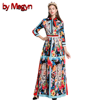 By Megyn Runway Fashion Designers 2017 Maxi Dress Leopard Print Pressure Pleated Bow Necktie Tunic Plus