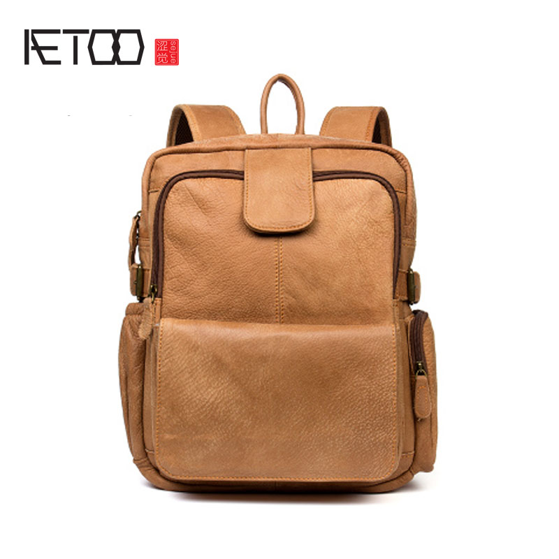 AETOO Casual leather shoulder bag travel bag men and women first layer cowhide backpack computer bag aetoo retro shoulder bag genuine handmade men women casual travel backpack large capacity first layer leather