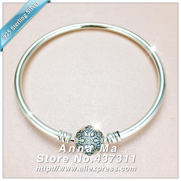 "2016 Winter NEW Woman Jewelry Bracelet S925 Sterling Silver Bangle Unique Snowflakes Bangle With Clear Cz Stamped ""Unique as yo"""