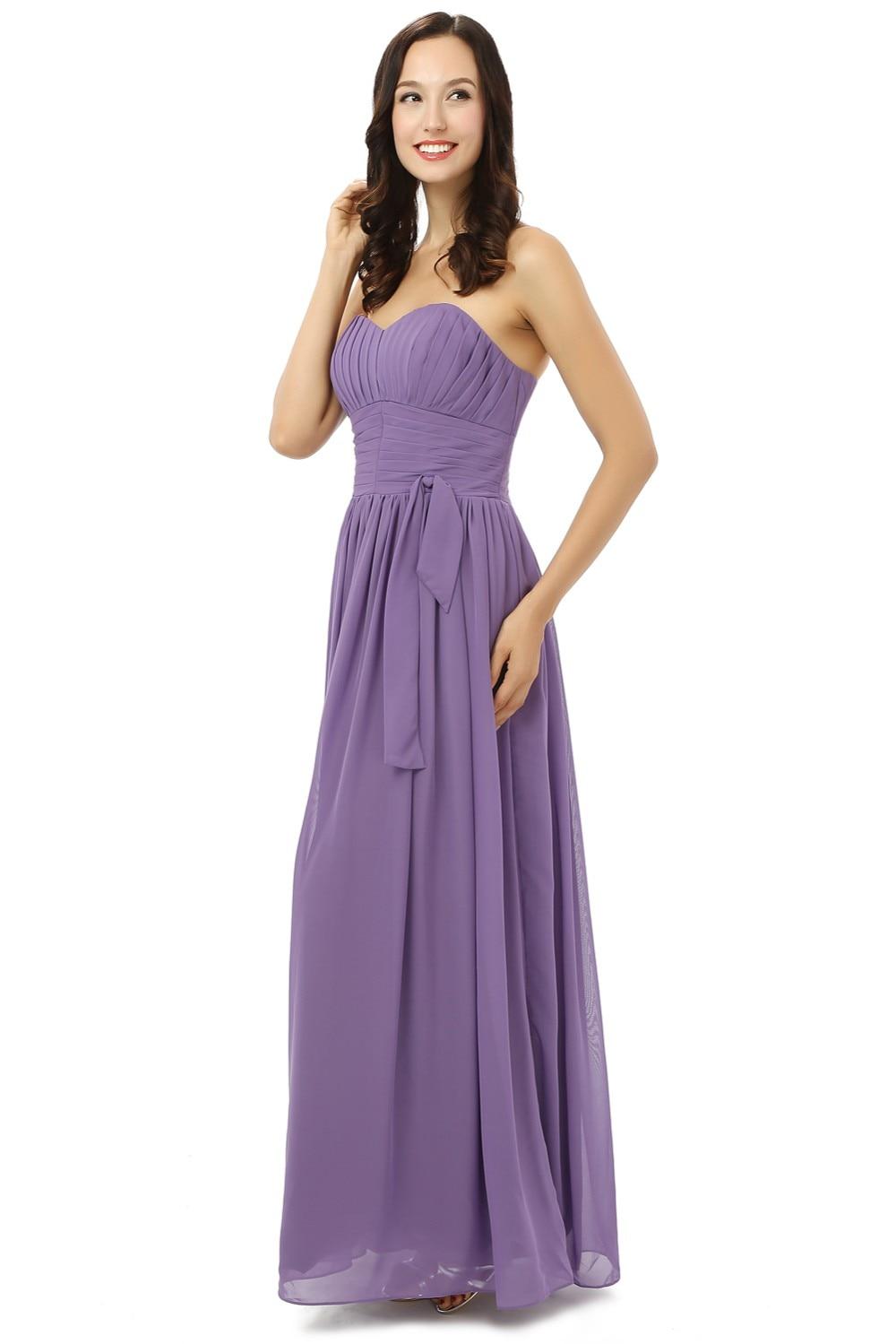 Nouveau 2019 robes de demoiselle d'honneur pas cher moins de 50 a-ligne chérie longueur de plancher en mousseline de soie violet clair robes de fête de mariage - 2