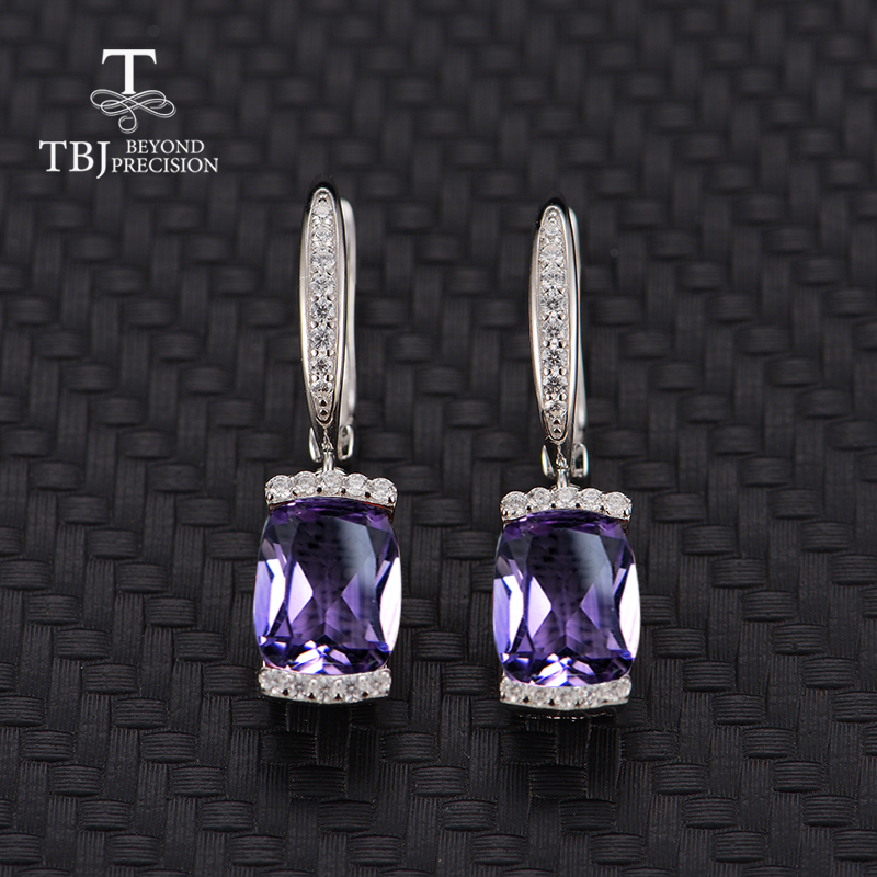 TBJ natural amethyst gemstone clasp earring 925 sterling silver fine jewelry rose color for girls women