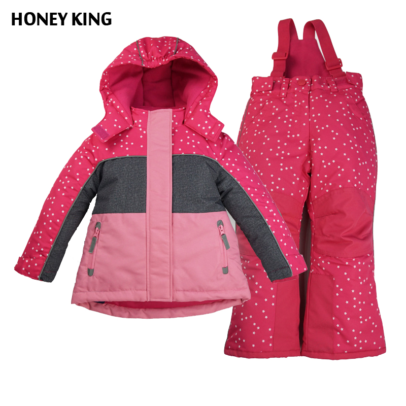 ФОТО HONEYKING 2PCS Girl Winter Ski Jacket Set Hooded Windproof Reflective Jacket+Waterpoof Straps Trousers Kids Outerwear For 3-9Y