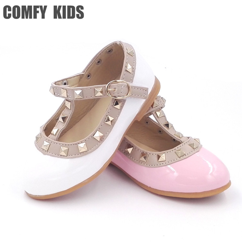 2017 girls sandals fashion casual leather shoes baby princess shoes dancing flats baby infant fashion flats girls rivet shoes