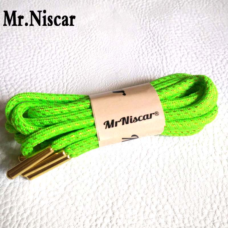 Mr.Niscar 2 Pair Metal Head Gold Wire Green Round Shoelaces Basketball Athletic Running Shoe Laces Length 120cm/160cm Dia 0.4cm
