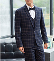 2016 Cheap Groomsmen Groom Tuxedos Custom Made Black Stripe Slim Fit Best Man Suit Wedding Suits Bridegroom (Jacket+Pants+Vest)
