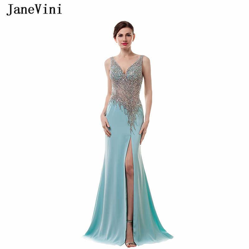 JaneVini Sexy Cao Chia Pha Lê Đính Cườm Dài Bridesmaid Dresses V Neck Mermaid Satin Cộng Với Kích Thước Trẻ Em Gái Châu Phi Pageant Prom Gowns