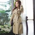 Тонкий траншеи женщина 2016 весна/осень двойной брестед средние длинные верхняя одежда дамы бежевый с длинным рукавом плюс размер гороха пальто траншеи