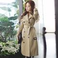 Foso delgado femenino 2016 primavera/otoño doble de pecho medio largo prendas de vestir exteriores de las señoras de color beige de manga larga más tamaño chaquetón zanja
