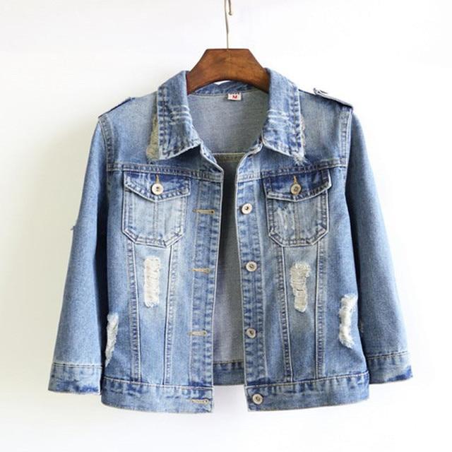 b44c0a41a8d Women Plus Size Cropped Jean Jacket Light Blue Bomber Short Denim Jakcets  Jaqueta Casual Ripped Jeans Coat 4 6 Sleeve 6XL 7XL