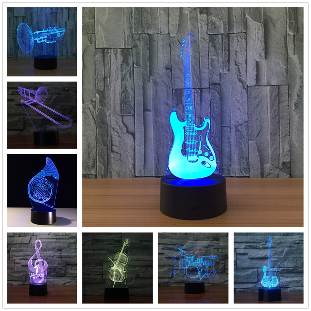 Guitar 3D Led Night Light Led Acrylic Colorful Lights Hologram Kids Table Lamp Atmosphere Usb Led Light Lamp Canon Light