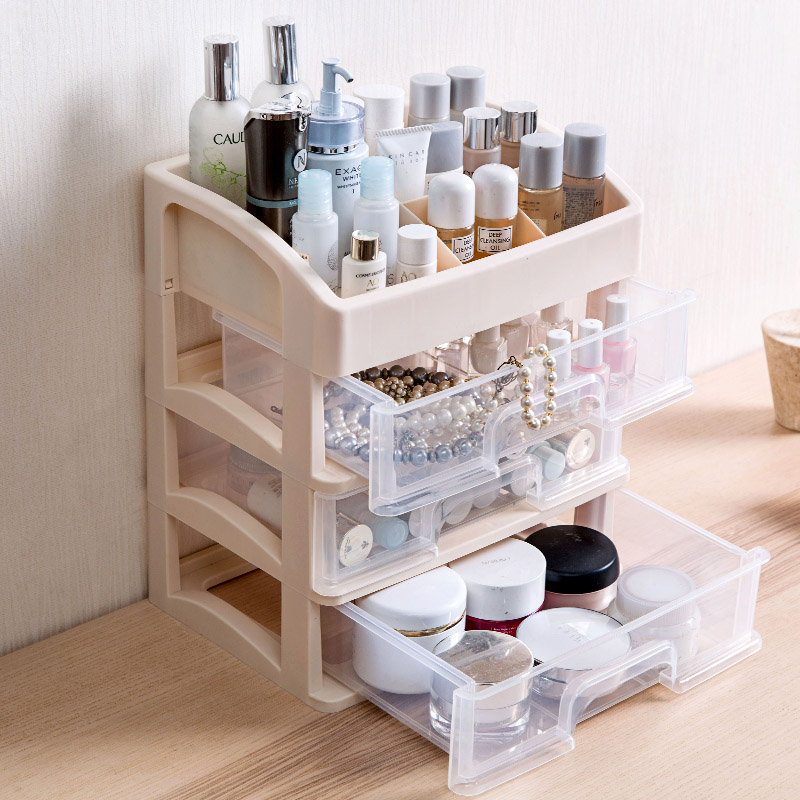 Nordic Style Desk Drawer Organizer Cosmetics Storage Box Skin Care Products Storage Rack Plastic Drawers Cabinet Small Drawer