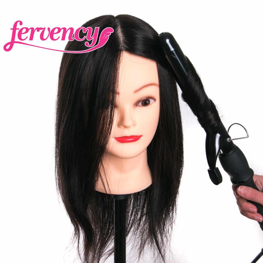 Thực 100% tóc con người đầu búp bê cho tiệm làm tóc 16 ''nâu đào tạo đầu chuyên nghiệp Mannequin có thể được cuộn tròn với quà tặng