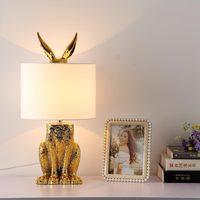 Modern Gold Table Lamp Lustre Design Light Fixtures Living Room Bedroom Bedside Office Art Decor Home Lighting Fabric Lampshade