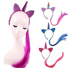 Headbands Hair-Accessories Unicorn Rainbow-Color Kids Girls Wig Braid Glitter Princess