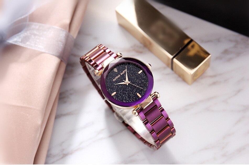 Relógio das Mulheres de Diamante Roxo Malha