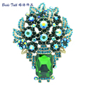 Retro Vintage Oblong Rhinestone Crystal Brooches Fabulous Green Floral Flower Brooch Pins Pendant Women Fashion Jewelry 6411