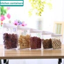 5 Pcs/set Transparent Containers Kitchen Plastic Storage Canisters Kitchen Canisters Sets for Food 1.5L/1L/0.7L/0.45L/0.28L
