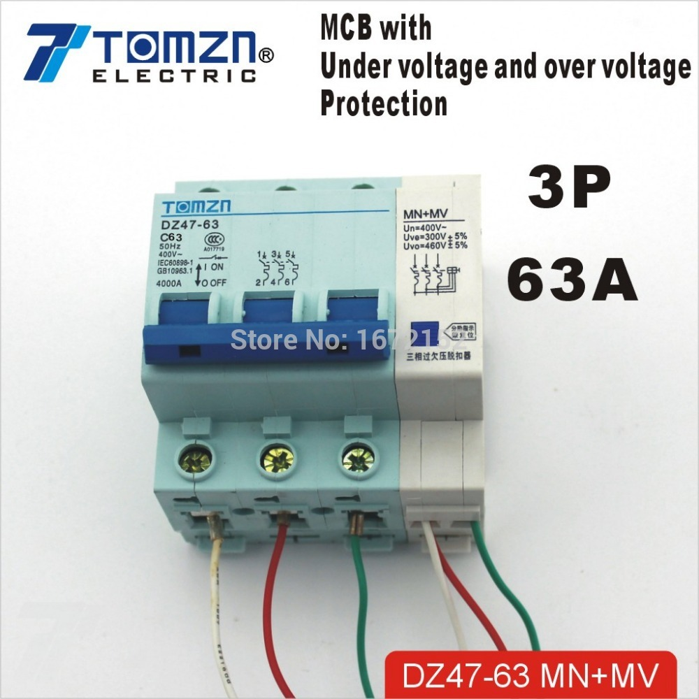 ▽3P 63A 400V~ 50HZ/60HZ MCB with over voltage and under voltage ...