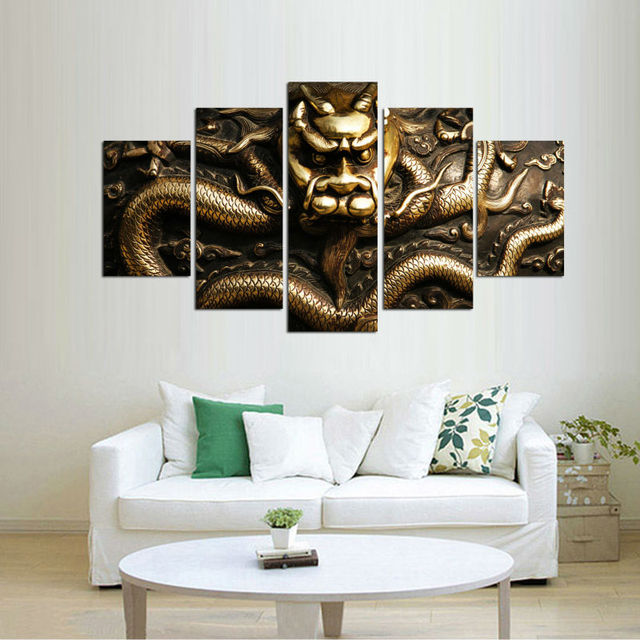 5 Panels Canvas Prints Framed dragon golden canvas painting poster ...