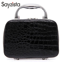 Sayzisfa Brand New Women Cosmetic Bags Portable Trunk Zipper Stone Makeup Bag Travel Toiletry Bag Large