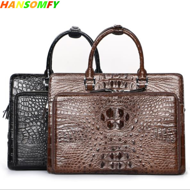 100% Crocodile Leather Men Handbags Luxury Men's Business Shoulder Messenger Bag Brown/Black Large Capacity 14