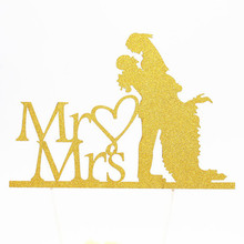 1pc Creative MR & MRS Love Wedding Cake Flag Topper Multi Colors Flags For Anniversary Party Baking Decor