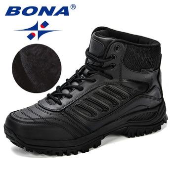 BONA Men Hiking Shoes Mid-Top Split Leather Outdoor Sneaker Men Comfy Trekking Boots Men Trail Camping Climbing Hunting Sneakers 4